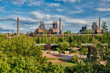 Abandoned Industrial factory in Duisburg, Germany. Public park Landschaftspark, landmark and tourist attraction.