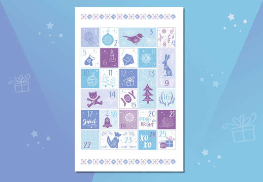 Advent Calendar Poster with Christmas Illustrations