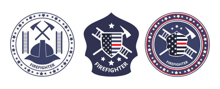 Fire Prevention Awareness Month is organised in USA. Ladder, helmet, tools, shield with American flag are shown.