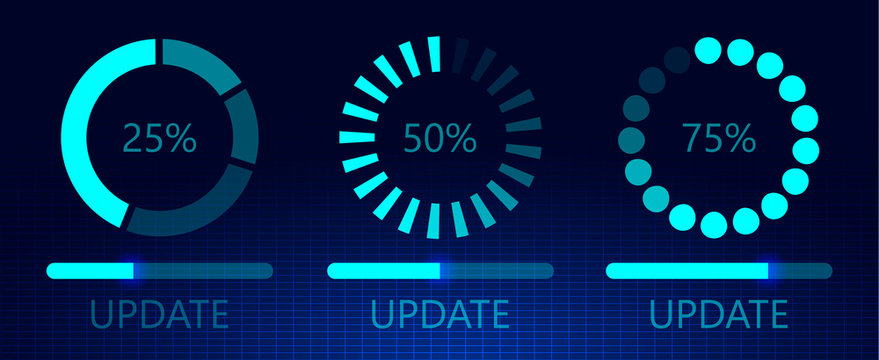 Set of software update on cyberspace. Loading process concept. Upgrade application progress icons