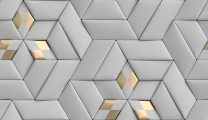3D wallpaper of 3D soft geometry tiles made from gray leather with golden decor. High quality seamless realistic texture.