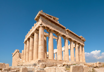 Wall Mural - Parthenon temple on a bright day with blue sky. Classical ancient Greek civilization landmark, famous place, panorama travel background.Panoramic image taken in Acropolis hill in Athens, Greece.