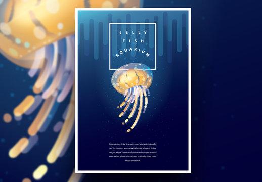 Aquarium Poster Layout with Yellow Jellyfish
