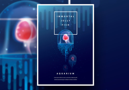 Aquarium Poster Layout with Jellyfish