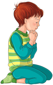 Illustration of a Little Boy Kneeling Down in Prayer with her hands folded