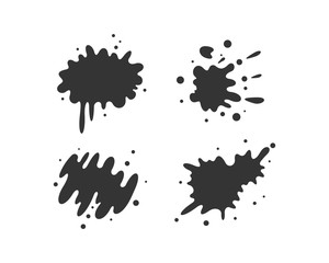 Black paint blots collection of vector icons. Cartoon paint splatters and ink splashes.