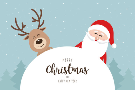 Santa and reindeer cute cartoon winter landscape with greeting snowy background. Christmas card