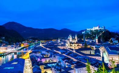 Spectacular panorama view of Salzburg, Austria