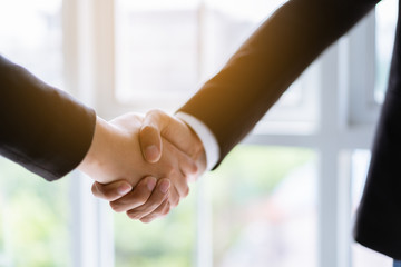 Two business people shaking hands for successful business concept