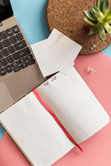 To do list on the background of laptop and potted plant. Working atmosphere. Notebook with space for text, sheets with pins on pink and blue pastel backgrounds. Copyspace, mockup, top view