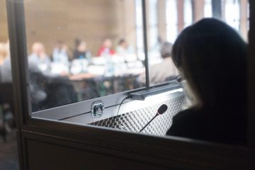 woman in translators cubicle