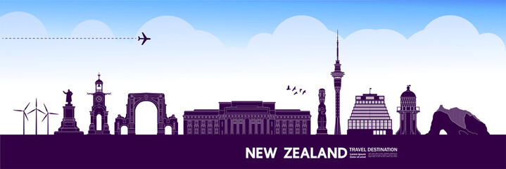 Fototapete - New Zealand travel destination grand vector illustration.