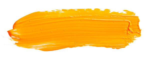 Orange yellow brush stroke isolated on white background. Orange abstract stroke. Colorful...