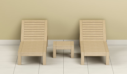 Wooden sun loungers and table