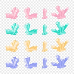 Set of isolated crystal in cartoon vector style