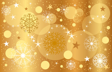Golden Christmas background, close-up snacks, falling snow, loose stars, bokke effect