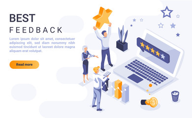Best feedback landing page vector template with isometric illustration. Customer satisfaction rating homepage interface layout with isometry. Service quality evaluation 3d webpage design