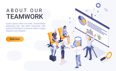About our teamwork landing page vector template with isometric illustration. Office team cooperation and communication homepage interface layout with isometry. Business partnership 3d webpage design