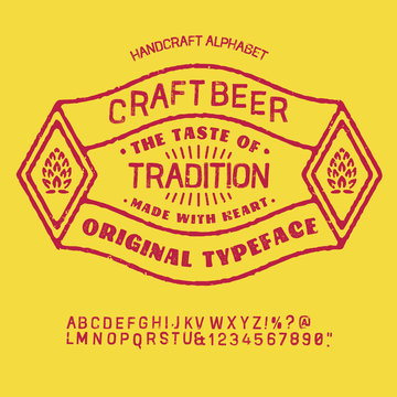 """"""" beer """" typeface. Vector hand crafted font in medieval style with hops. Good for posters, alcohol label and festival invitation.Letters and numbers.Vector illustration."""