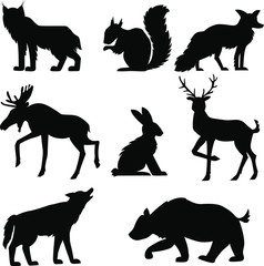 black forest  animals isolated on white background