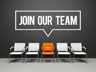 Join our team text word on black wall waiting room