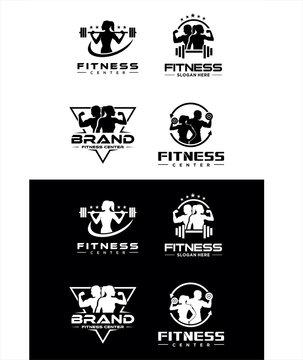 Set Of Fitness Center Logo silhouette . Sport and fitness logo Design . Gym Logo Icon Design Vector Stock