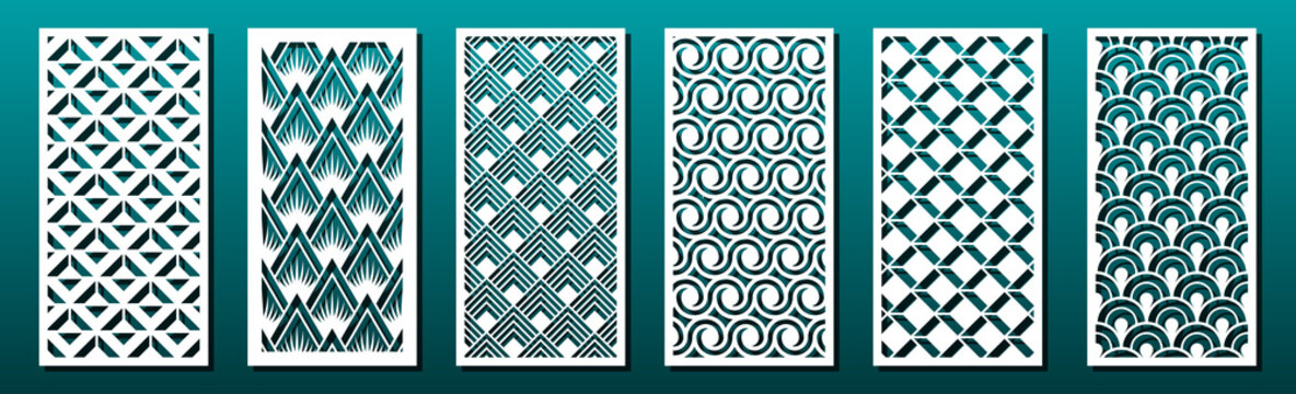 Set of laser cut templates with geometric pattern.  For metal cutting, wood carving, panel decor, paper art, stencil or die for fretwork, card background design. Vctor illustration