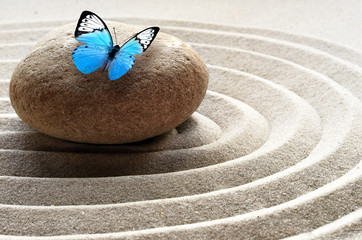 Fotobehang Stenen in het Zand zen garden meditation stone background and butterfly with stones and lines in sand for relaxation balance and harmony spirituality or spa wellness
