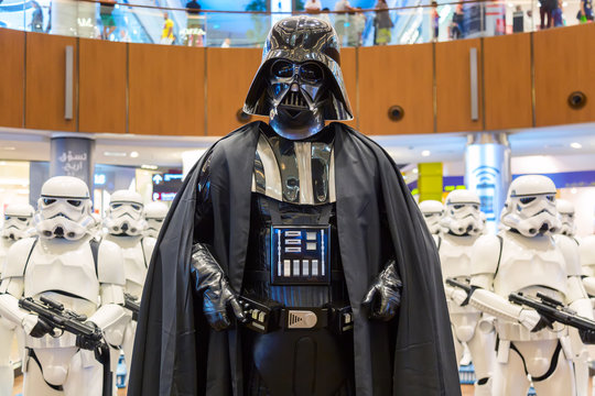 Dubai, United Arab Emirates - August, 2019: Stormtroopers and Sith Lord Darth Vader from Star Wars movies in Dubai mall, Burj Khalifa in United Arab Emirates.