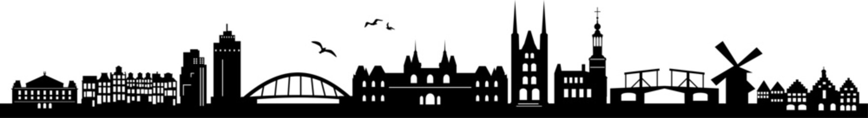 Printed roller blinds Birds in cages Amsterdam City Skyline Vector Silhouette