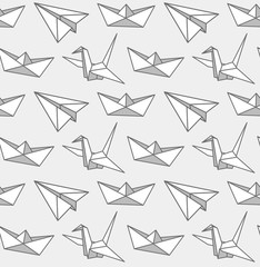 Origami seamless pattern. Graphic monochrome print for fabric, textile, wallpaper, postcard, clothes. Vector cartoon illustration.