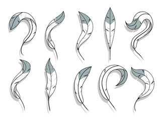 Feathers vector set. Set of fluffy feathers on white background. Image of bird feathers. Soft and lightweight quill of peacock, swan, hen, dove. Detailed Feather in Various Shapes. Graphics to design.