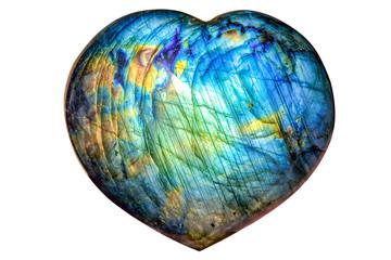 Beautiful natural labradorite in heart shape