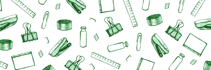 Back to school - pen sketch background. Can be used for wallpaper, pattern fills, textile, web page background, surface textures. Cartoon stationery