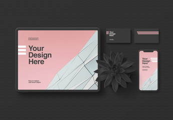 Stationery and Tablet Mockup in Minimalist Black
