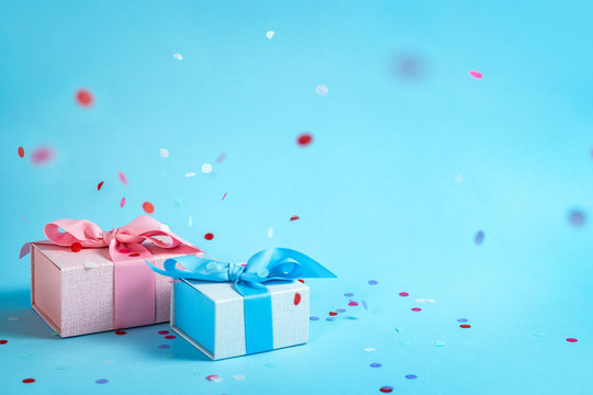 Beautiful present or gift box against color background