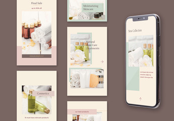 Set of 10 Neutral Tone Social Media Story Layouts with Thin Golden Lines