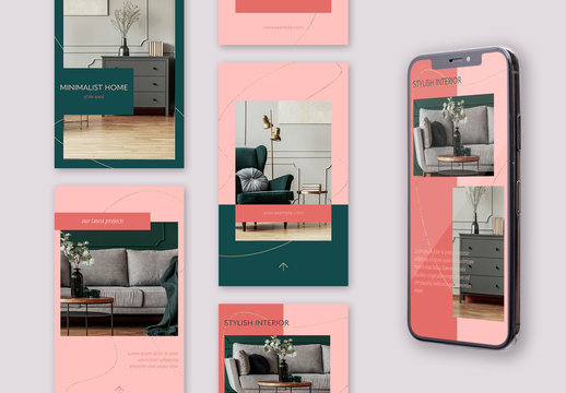Set of 10 Pink and Green Social Media Story Layouts with Fluid Golden Lines