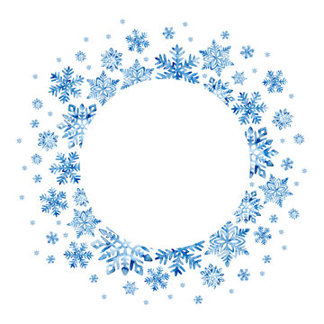 Congratulatory New Year and Christmas frame. Blue snowflakes on a white background. Hand-drawn winter watercolor pattern. Empty place for your text.