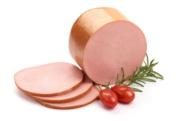 Fresh pork Boiled sausage, isolated on white background