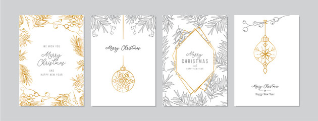 Golden and silver Christmas cards set with hand drawn tree branches and berries. Doodles and sketches vector illustrations, DIN A6