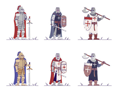 Medieval knights flat vector illustrations set. Armored warriors isolated cartoon characters with outline elements on white background. Middle Age crusaders, swordsmen. Ancient warfare