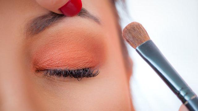 Makeup professional artist applying base color eyeshadow on model eye