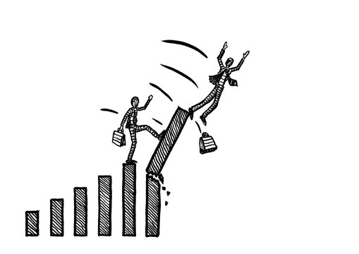 Drawn Businessman Toppling A Competitor On Chart