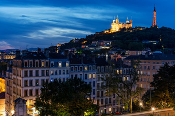 Lyon and basilique de fourviere by night