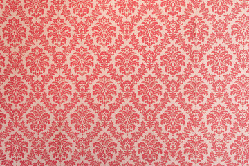 Spoed Fotobehang Retro Red wallpaper vintage flock with red damask design on a white background retro vintage style