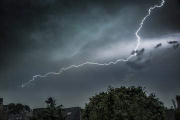 Lightning in the dark sky