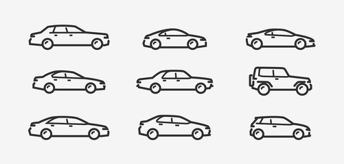 Car icon set. Transport, transportation symbol in linear style. Vector illustration