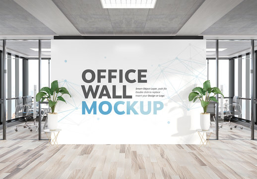 Billboard Wall in Office Mockup
