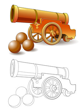 Colorful and black and white pattern for coloring. Fantasy illustration of ancient military cannon and cores for firing. Worksheet for coloring book for children and adults. Vector image.